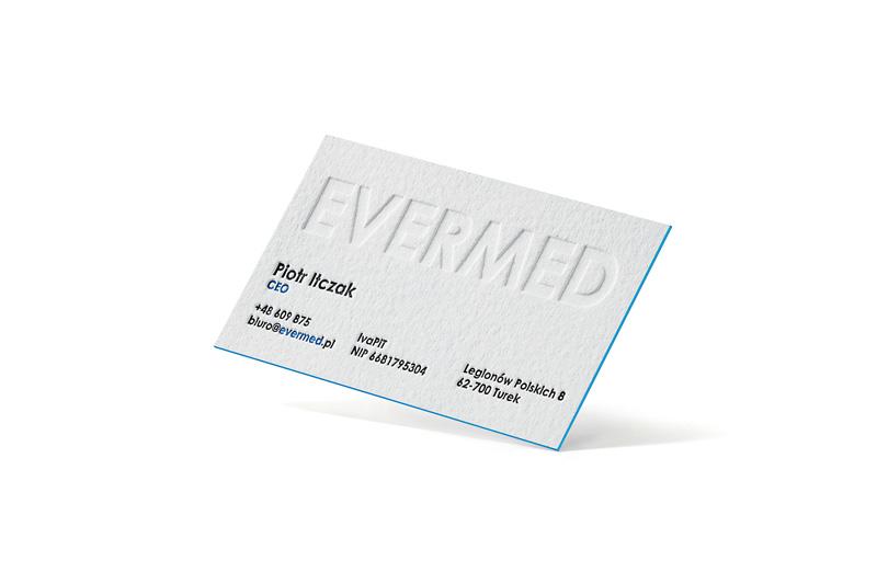 wizytówka letterpress ze ślepym tłoczeniem