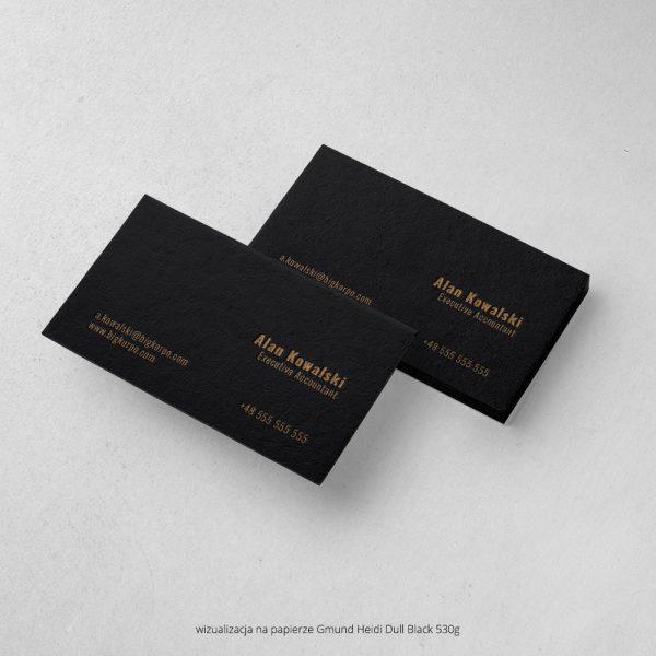 czarne wizytówki letterpress