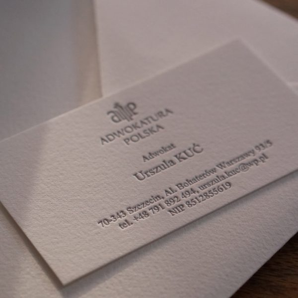 wizytówki letterpress dla adwokatów