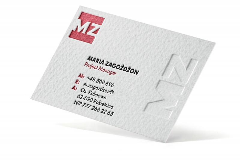 Trójwymiarowe wizytówki letterpress