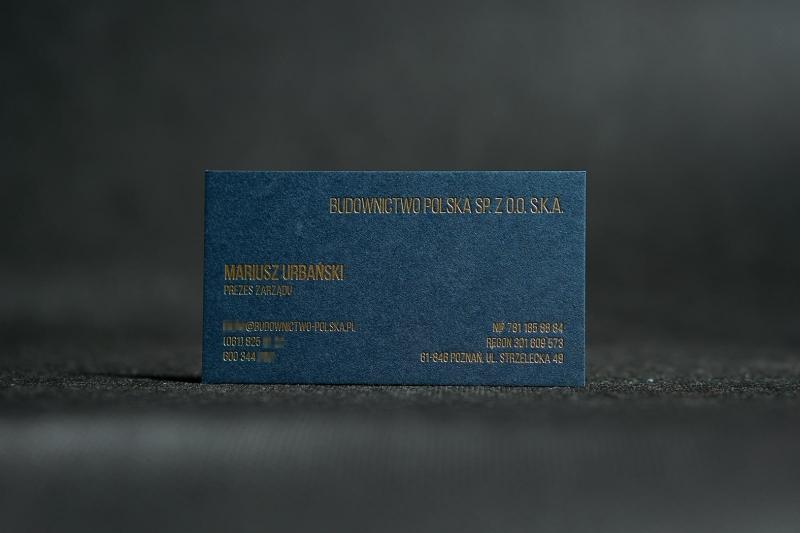 granatowa wizytówka z hot stampingiem